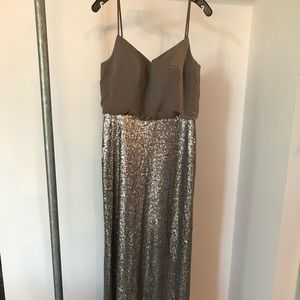 Bari Jay 1677 Antique Silver Sequin/ Chiffon Gown